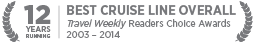 12 YEARS BEST CRUISE LINE OVERALL